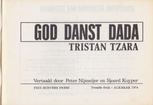 Tzara - titelpagina