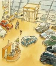 Illustratie showroom